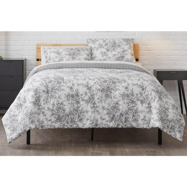 Livia 3-Piece Reversible Charcoal Toile Full/Queen Comforter Set
