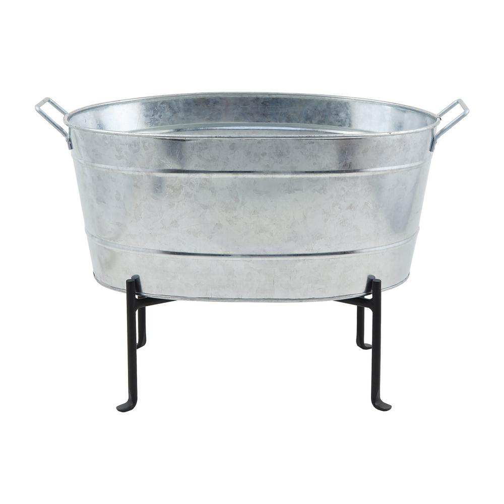 Achla Designs 24 In W Steel Classic Oval Galvanized Tub With Folding Stand C 51 S1 The Home Depot