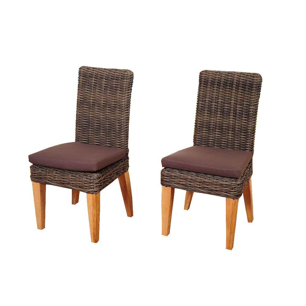 Gibson 2-Piece Teak/Wicker Patio Chair Set with Brown Cushions