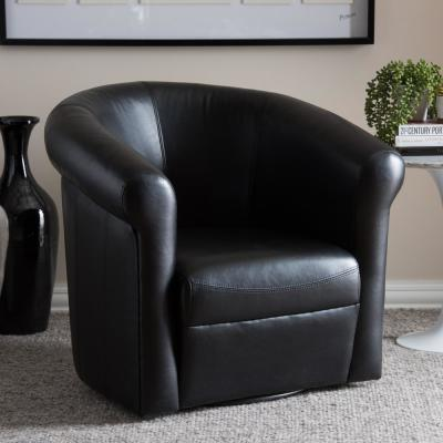 Julian Dark Brown Faux Leather Upholstered Accent Chair
