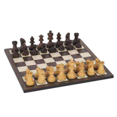 Staunton Weighted Rosewood Pieces and Wooden Board 12 in. Chess Set