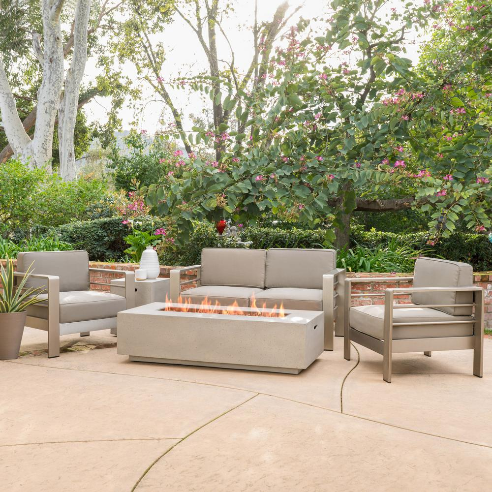 Noble House Cape Coral Khaki 5-Piece Aluminum Patio Fire Pit Conversation Set with Khaki Cushions