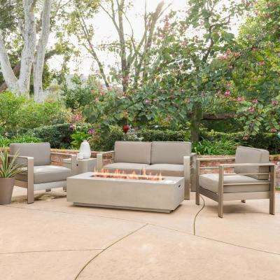 Cape C Khaki 5 Piece Aluminum Patio Fire Pit Conversation Set With Cushions