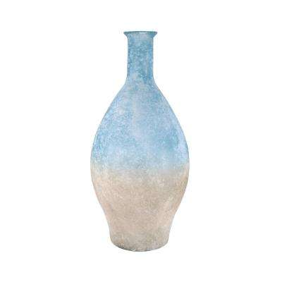 Medea 24 in. Glass Decorative Vase in Textured Smoke and Textured Azure