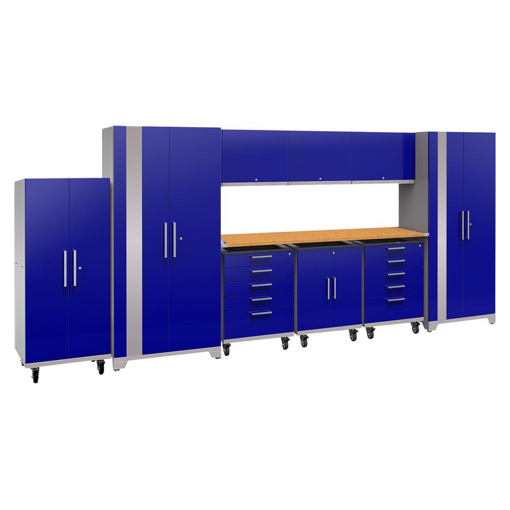 NewAge Products Performance Plus 2.0 80 in. H x 189 in. W x 24 in. D Steel Garage Cabinet Set in Blue (10-Piece) with Bamboo Worktop