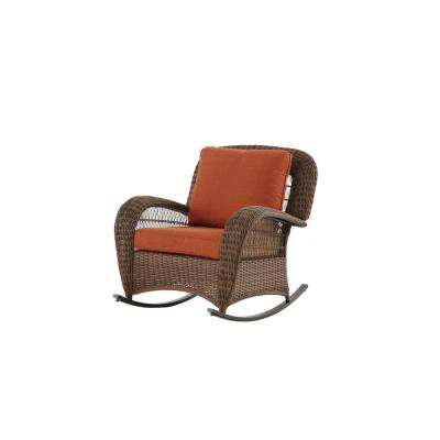 Beacon Park Brown Wicker Outdoor Patio Rocking Chair with CushionGuard Quarry Red Cushions
