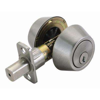 Double Cylinder Satin Nickel Deadbolt with Universal 6-Way Latch