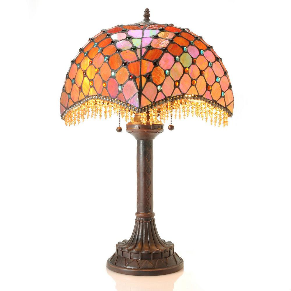 Warehouse of Tiffany 25 in. Bronze Beaded 2-Light Indoor Table Lamp with Pull Chain