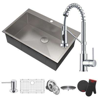All-in-One Drop-In Stainless Steel 33 in. 2-Hole Single Bowl Kitchen Sink with Faucet and Dispenser in Chrome