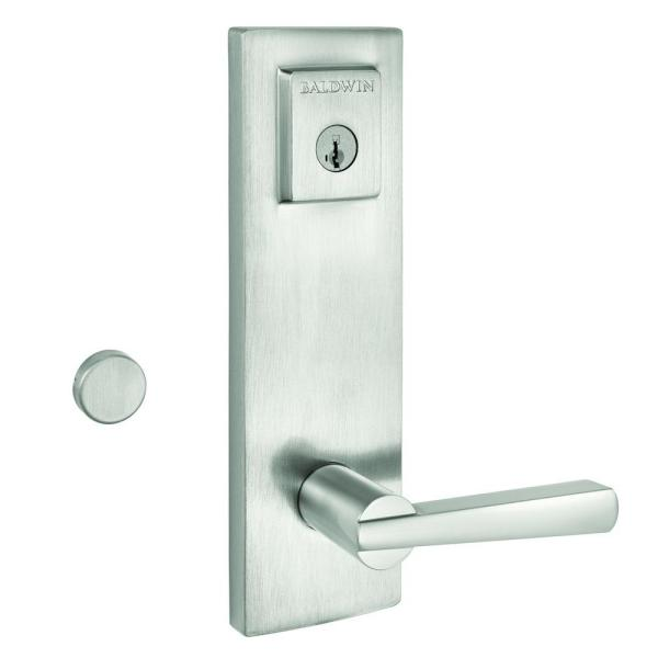 Prestige Spyglass Satin Nickel Universal Entrance Door Handleset Featuring SmartKey Security