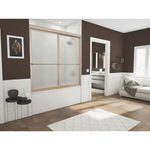 Newport 54 in. to 55.625 in. x 55 in. Framed Sliding Bathtub Door with Towel Bar in Brushed Nickel and Aquatex Glass