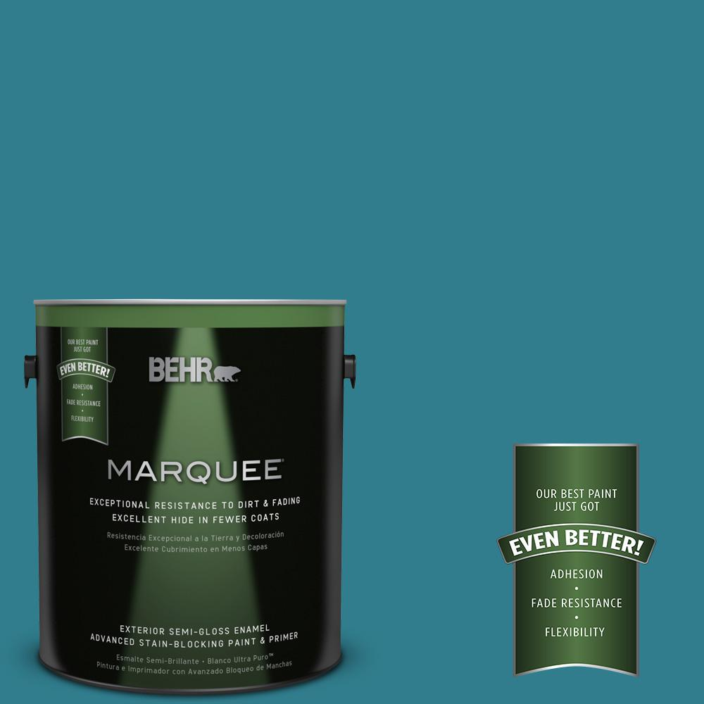 BEHR MARQUEE Home Decorators Collection 1-gal. #HDC-CL-27 Calypso Blue Semi-Gloss Enamel Exterior Paint