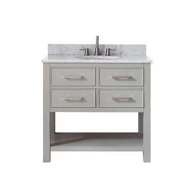 Brooks 37 in. W x 22 in. D x 35 in. H Vanity in Chilled Gray with Marble Vanity Top in Carrera White with White Basin