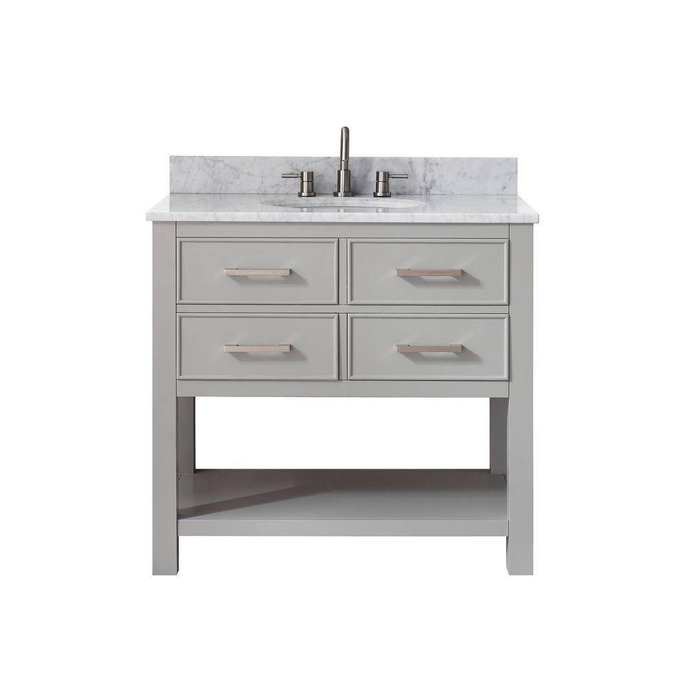 Avanity Brooks 37 in. W x 22 in. D x 35 in. H Vanity in Chilled Gray with Marble Vanity Top in Carrera White with White Basin