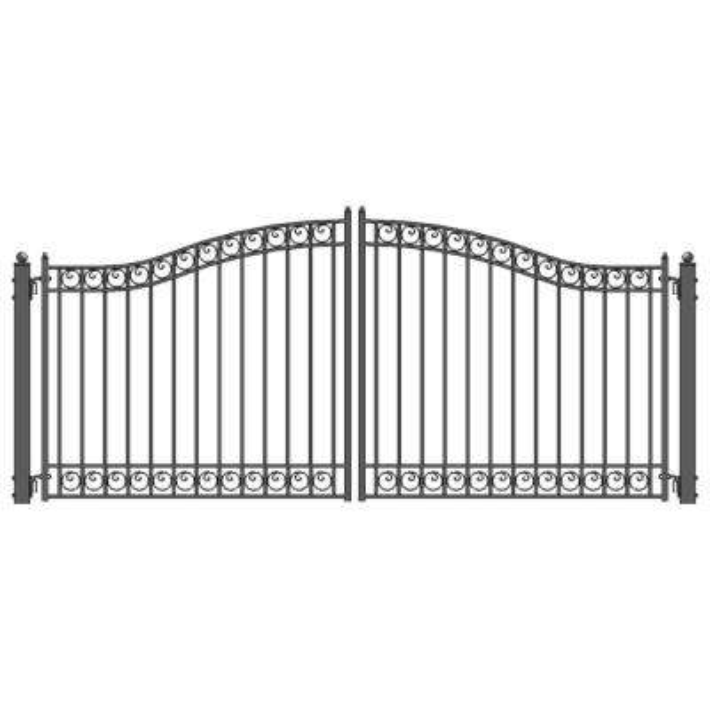 Dublin 14 ft. x 6 ft. Black Steel Dual Driveway Fence Gate