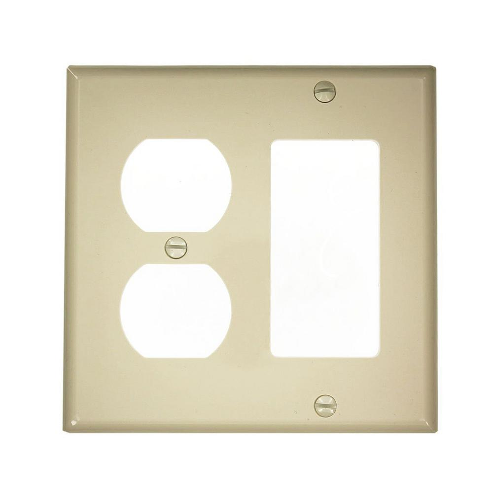 2-Gang Standard Size 1-Decora 1-Duplex Receptacle Nylon Combination Wallplate, Ivory