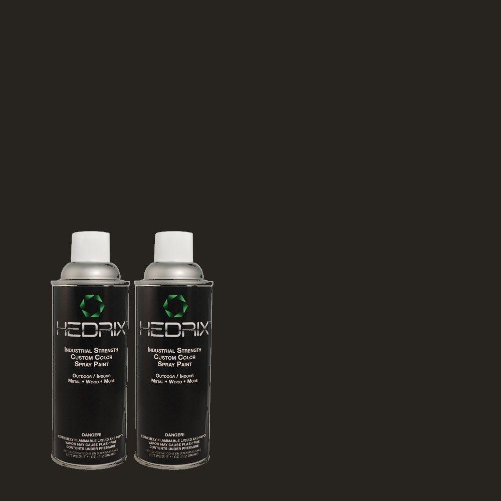 Hedrix 11 oz. Match of ECC-25-3 Obsidian Stone Semi-Gloss Custom Spray Paint (2-Pack)
