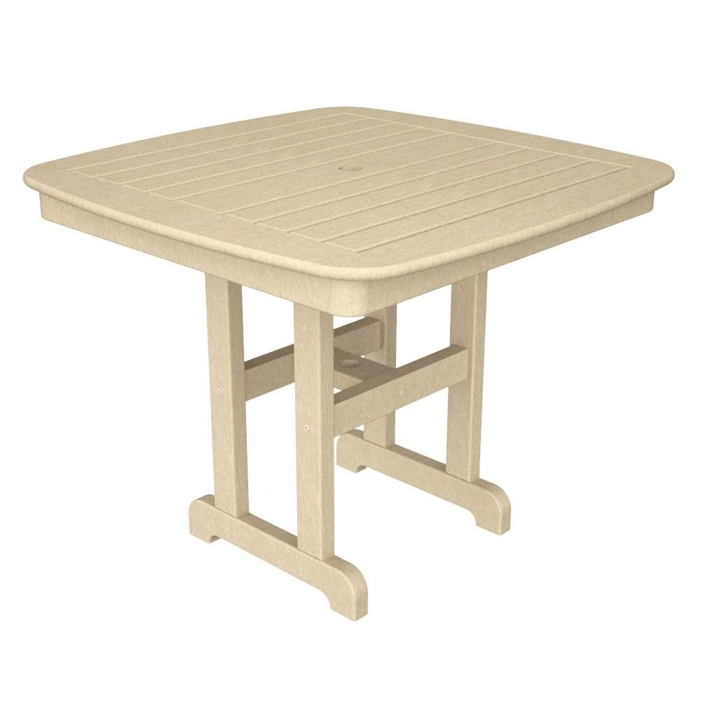 Nautical 37 in. Sand Patio Dining Table