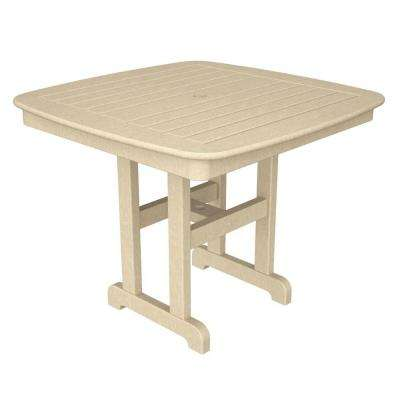 Nautical 37 in. Sand Plastic Outdoor Patio Dining Table