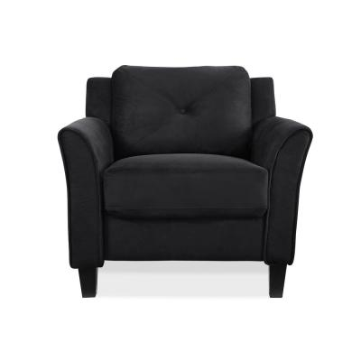Harvard Microfiber Chair with Curved Arm in Black