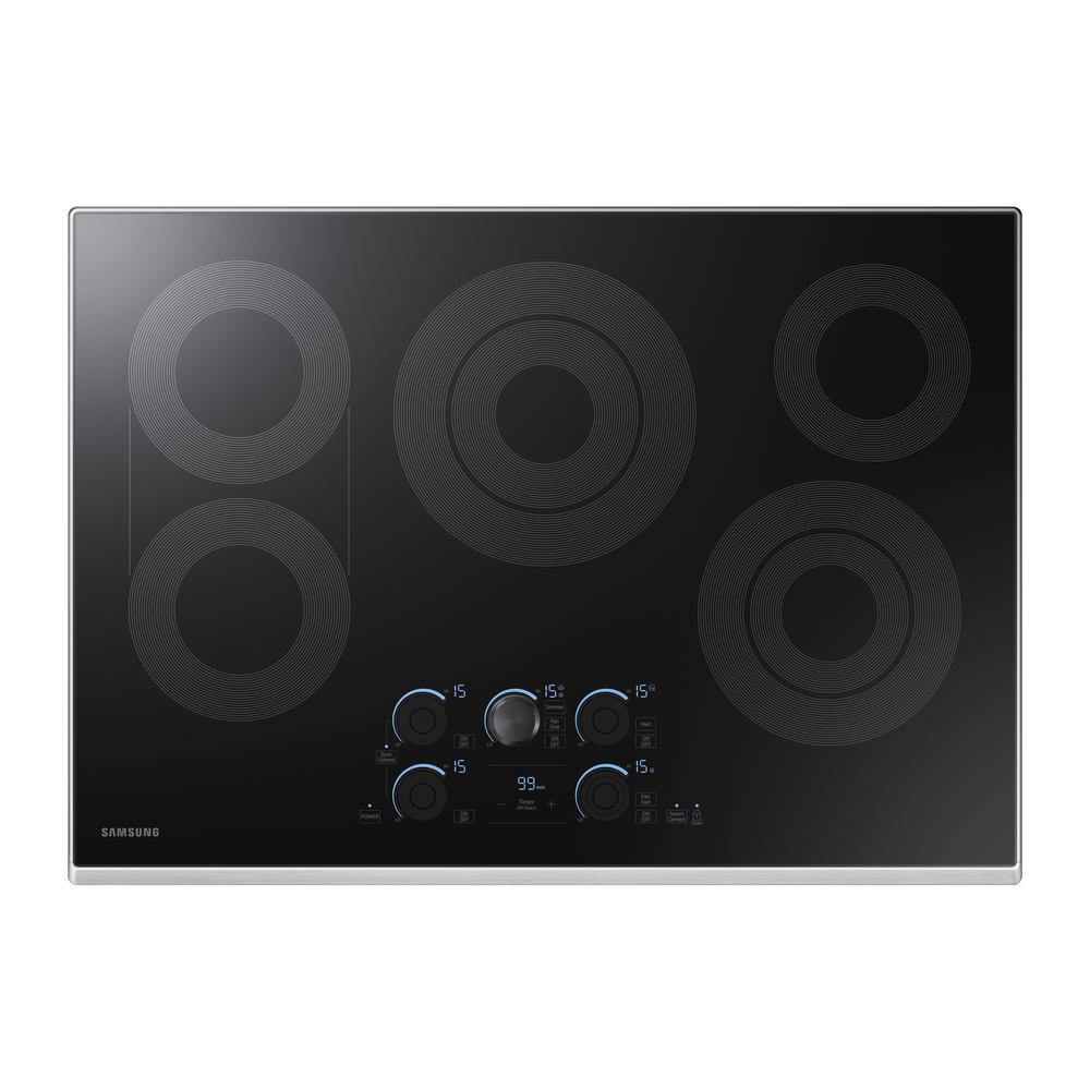 30 in. Radiant Electric Cooktop in Stainless Steel with 5 Elements,
