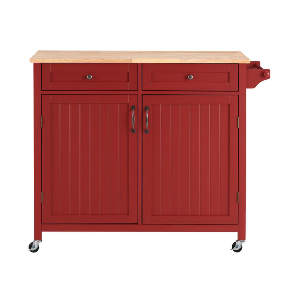 StyleWell Bainport Chili Red Kitchen Cart with Butcher Block Top, Chili Red with Butcher Block Top was $249.0 now $149.4 (40.0% off)