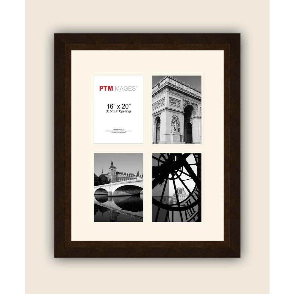 PTM Images 4-Opening 5 in. x 7 in. White Matted Bronze Photo Collage Frame
