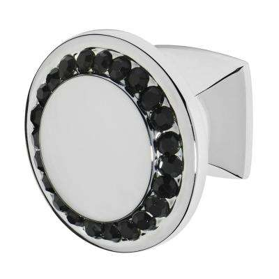 Isabel 1-1/4 in. Chrome with Black Crystal Cabinet Knob