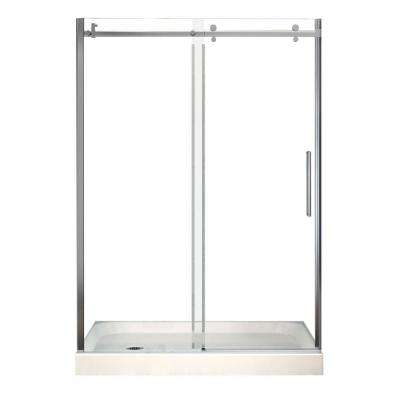 Halo 32 in. x 60 in. x 83 in. Frameless Shower Door with White Base Left Drain