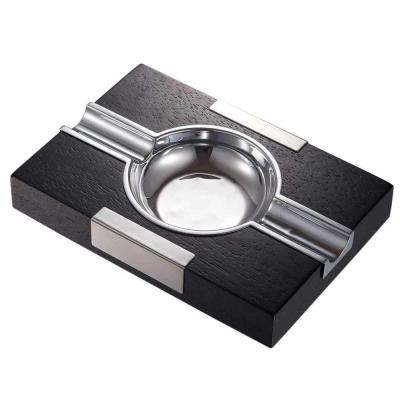 Cusco Cigar Ashtray Black Wood with Chrome