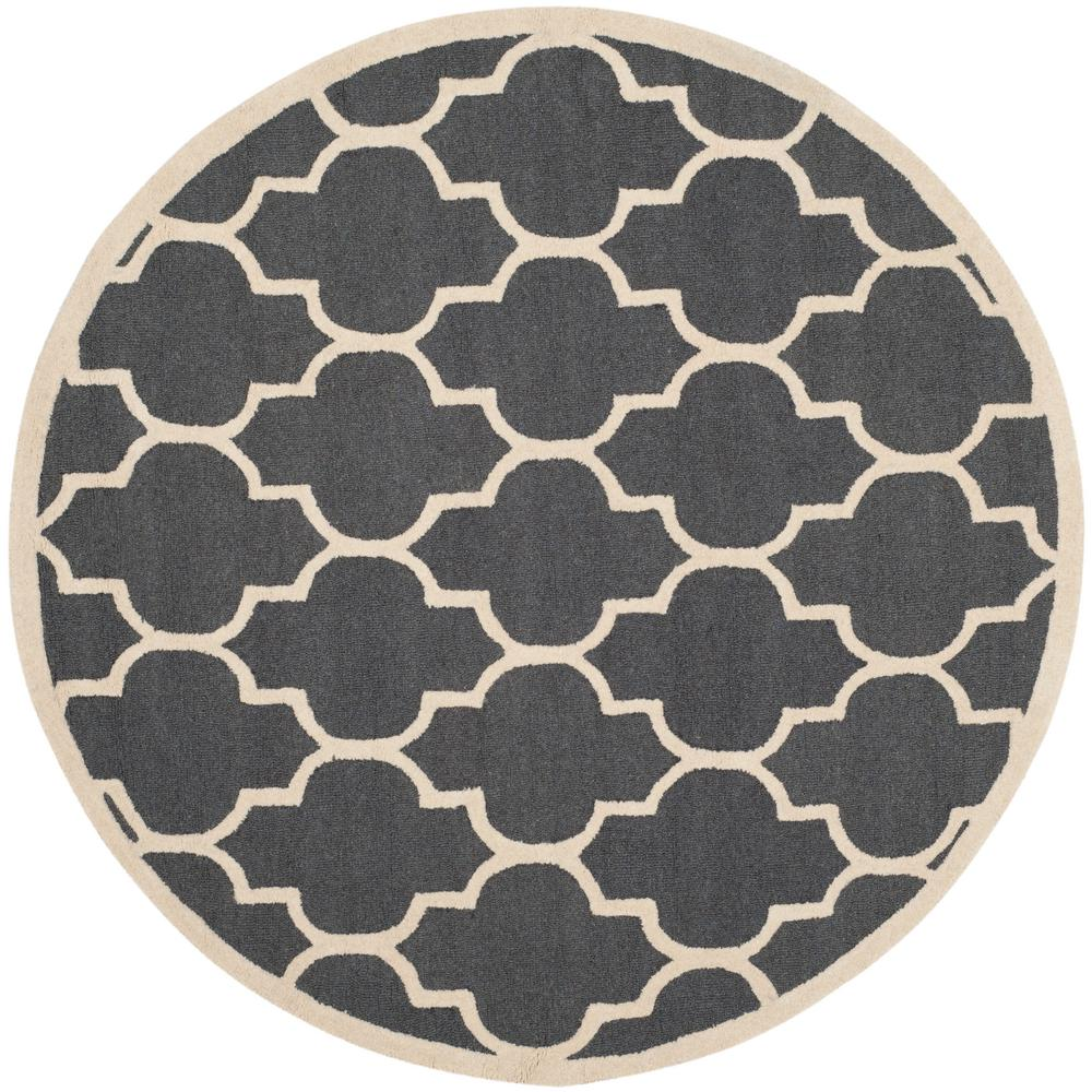 Safavieh Cambridge Dark Gray Ivory 6 Ft X Round Area Rug