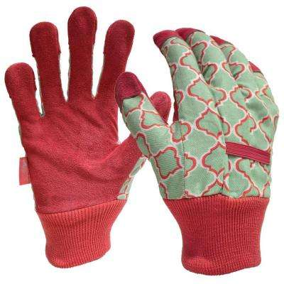 Women's Large Leather Palm Fabric Gloves