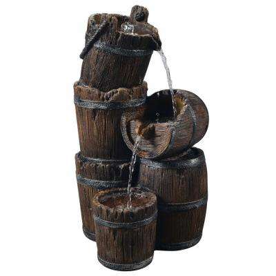 Outdoor Vintage 3-Tier Barrel Waterfall Fountain