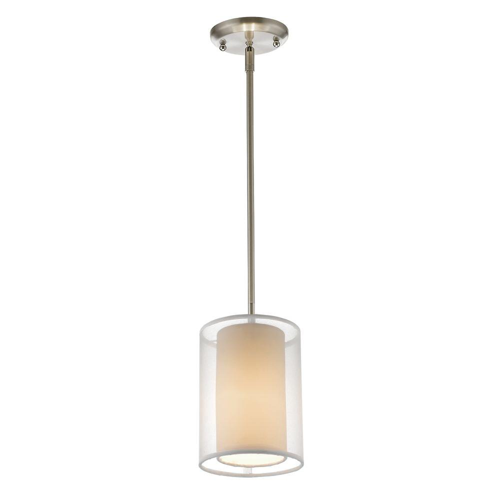 Reagan 1-Light Brushed Nickel Mini-Pendant