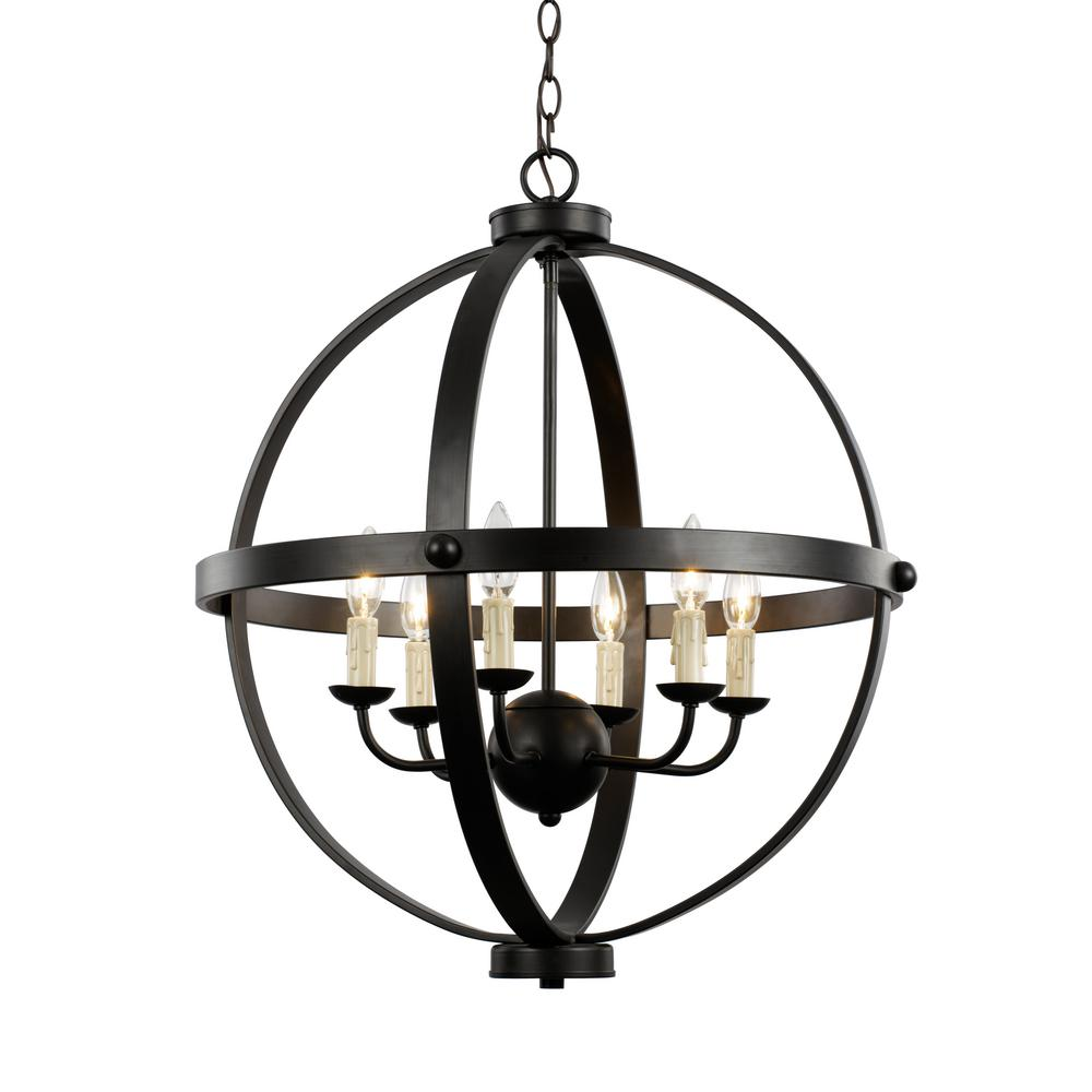 Bel Air Lighting 6-Light Rustic Axel Rubbed Oil Bronze Chandelier