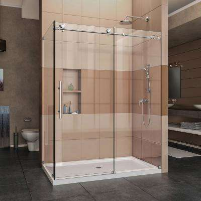 Enigma-X 60.375 in. x 76 in. Frameless Corner Sliding Shower Enclosure in Polished Stainless Steel with Handle