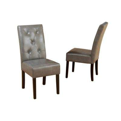 Taylor Dark Grey Bonded Leather Dining Chair (Set of 2)