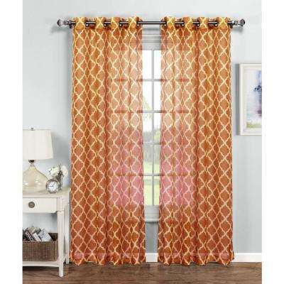 Quatrafoil Printed Sheer Extra Wide Grommet Curtain Panel   54 In. W X 84 In