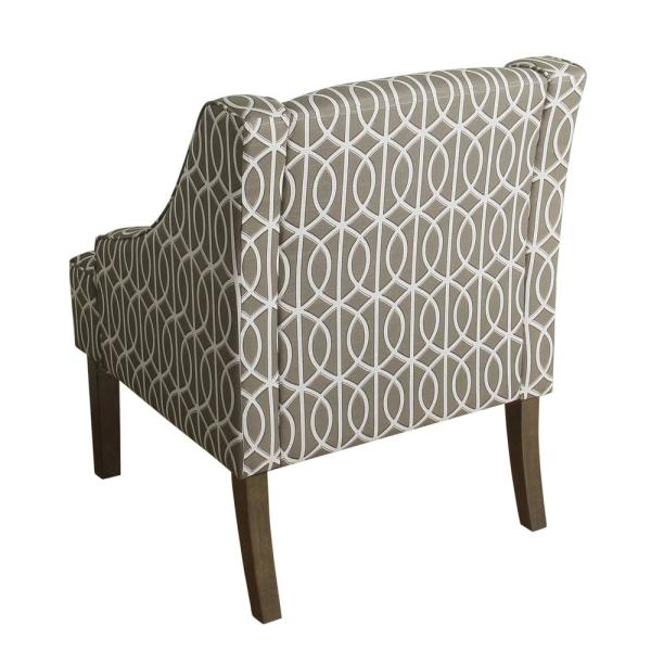 Homepop Gray Trellis Finley Swoop Arm Accent Chair