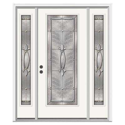 Blakely Full-Lite Primed Steel Prehung Front Door with 12 in. Side-Lites and Nickel Caming