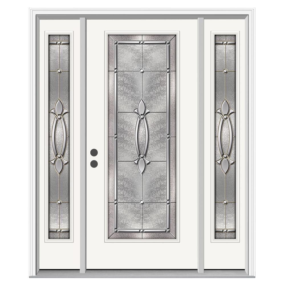 Blakely Full-Lite Primed Steel Prehung Front Door with 12 in. Side-Lites and Nickel Caming