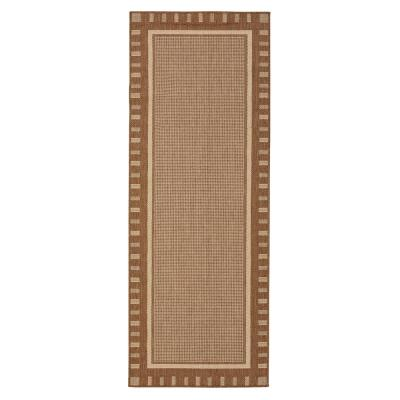 Jardin Collection Brown Contemporary Bordered Design Indoor/Outdoor 1 ft. 8 in. x 4 ft. 11 in. Jute Back Runner Rug