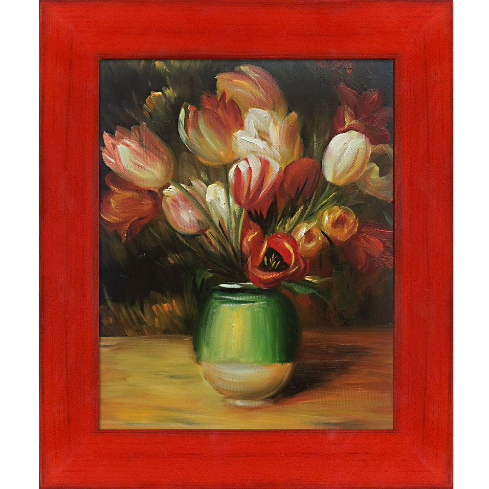 LA PASTICHE Tulips in a Vase with Stiletto Red Frameby Pierre-Auguste Renoir Oil Painting, Multi-Colored was $767.0 now $262.23 (66.0% off)