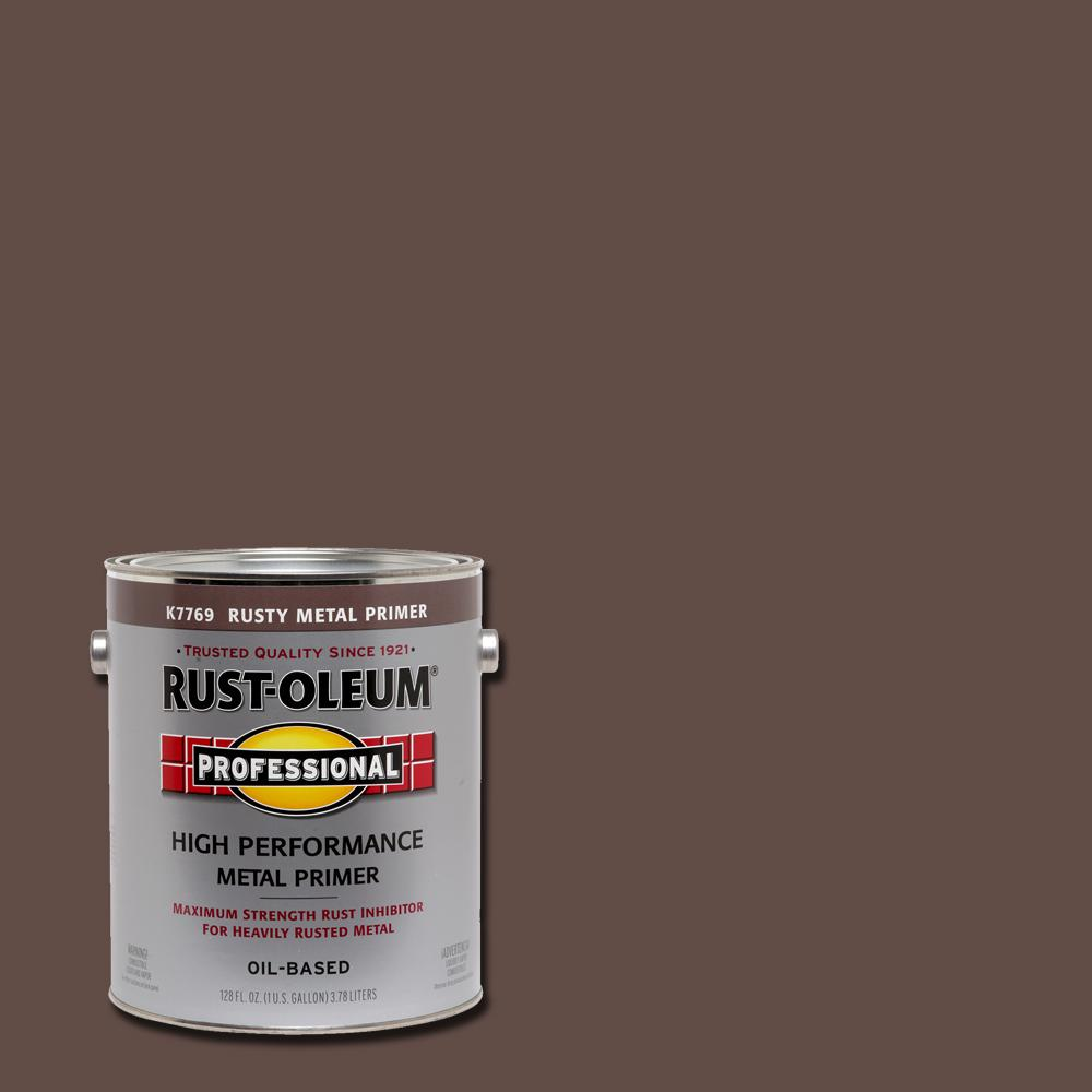 Rust Oleum Professional 1 Gal High Performance Flat Red Oil Based Interior Exterior Rusty Metal Primer K7769402 The Home Depot