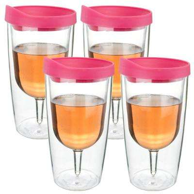 4-Piece Pink 10 oz. Double Wall Acrylic Insulated Wine Tumbler Set