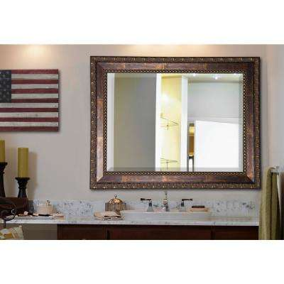 29.5 in. x 35.5 in. Roman Copper Bronze Rounded Beveled Floor Wall Mirror