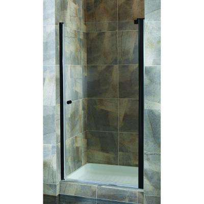Cove 32.5 in. to 34.5 in. x 72 in. H Semi-Framed Pivot Shower Door in Oil Rubbed Bronze with Clear Glass