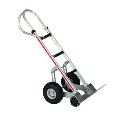 500 lb. Capacity Self-Stabilizing Aluminum Hand Truck, 10 in. Foam Wheels and Double Row Multi-Directional Roller Wheels