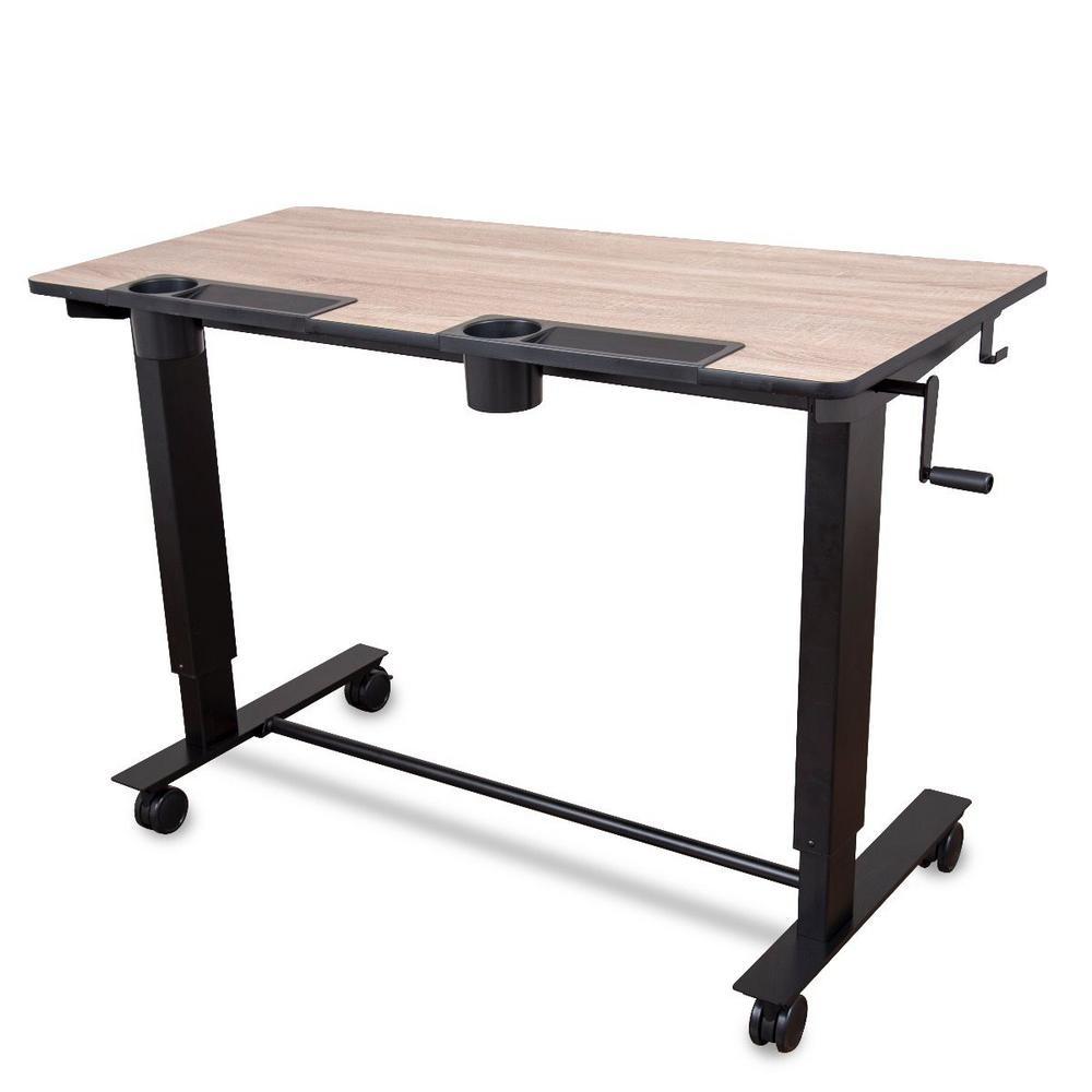 Luxor 2-Student White Oak Standing Desk with Crank (Light Wood Desktop/Black