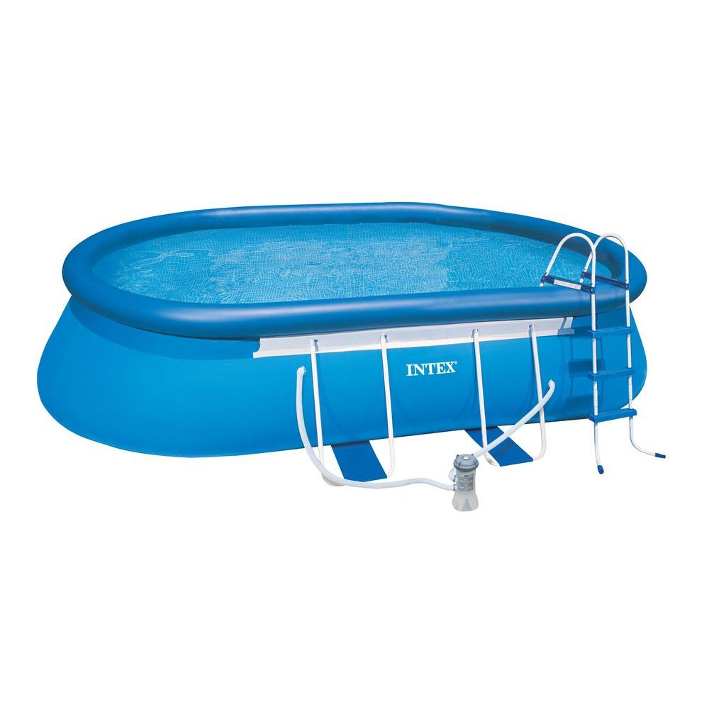 Intex 18 ft. x 10 ft. x 42 in. Oval Frame Pool Set